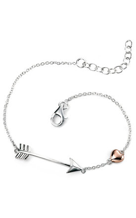 Arrow with Rose Gold Heart Sterling Silver Bracelet by VAVOO