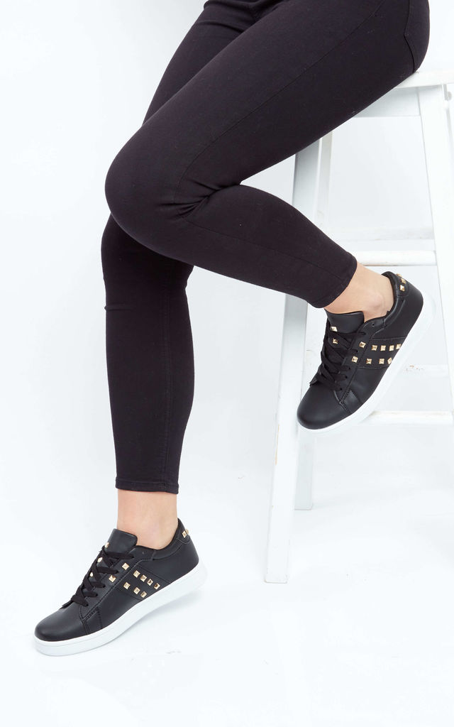 Black Trainers with Gold Studs by Truffle Collection