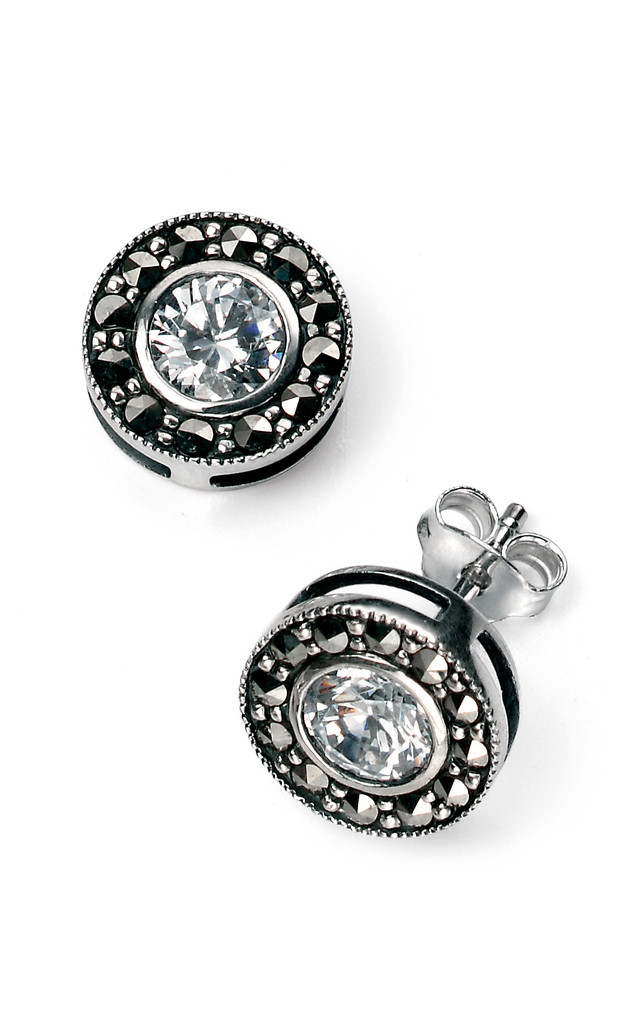 Marcasite CZ Sterling Silver Earrings by VAVOO