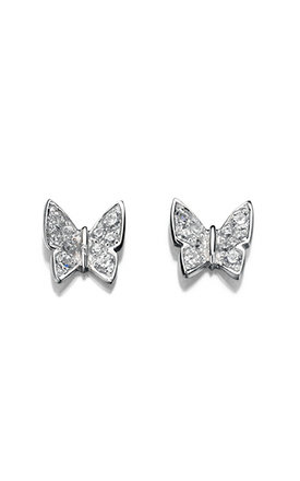 Pave Butterfly Sterling Silver Stud Earrings by VAVOO