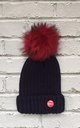 Navy / Red Beanie hat with faux fur pom pom by Frankies Brand