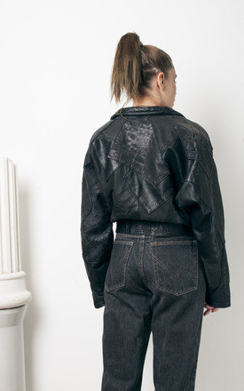 80s vintage cropped real leather jacket by Pop Sick Vintage