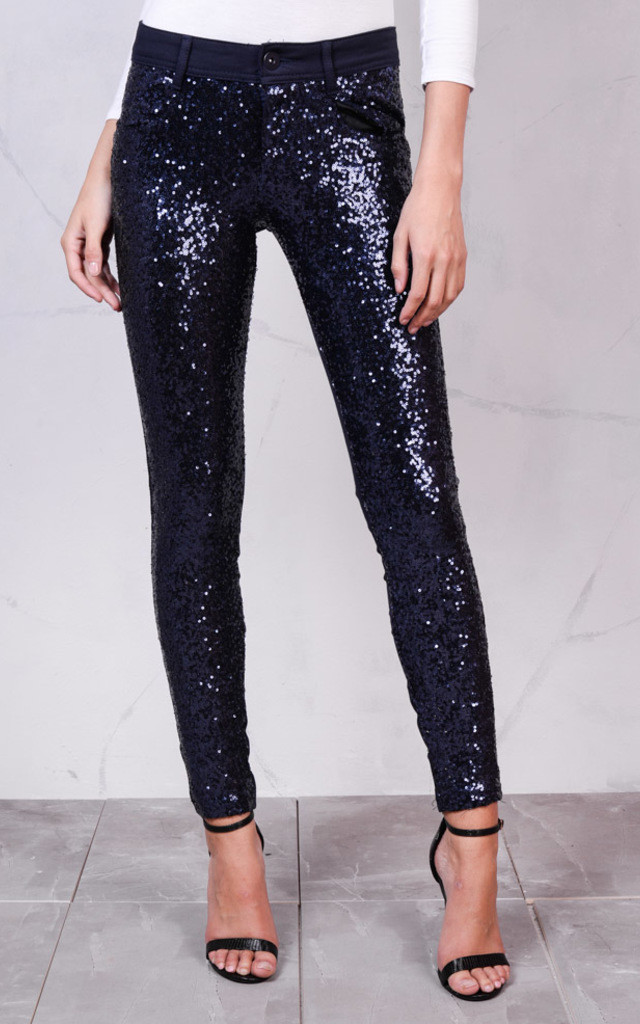 Mid Rise Metallic Sequin Skinny Trousers Midnight Blue by LILY LULU FASHION
