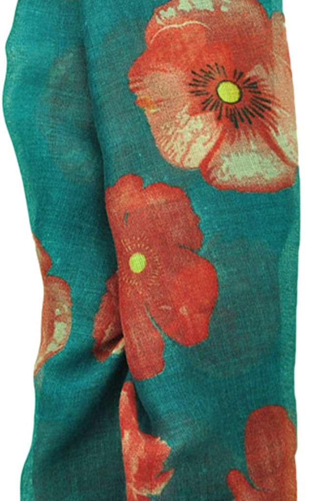 Lightweight scarf in green poppy print by GOLDKID LONDON