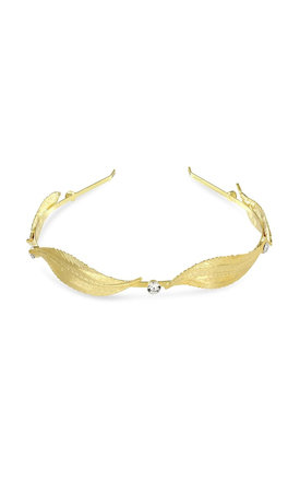 Johnny Loves Rosie Gold Leaf & Diamante Headband by Johnny Loves Rosie