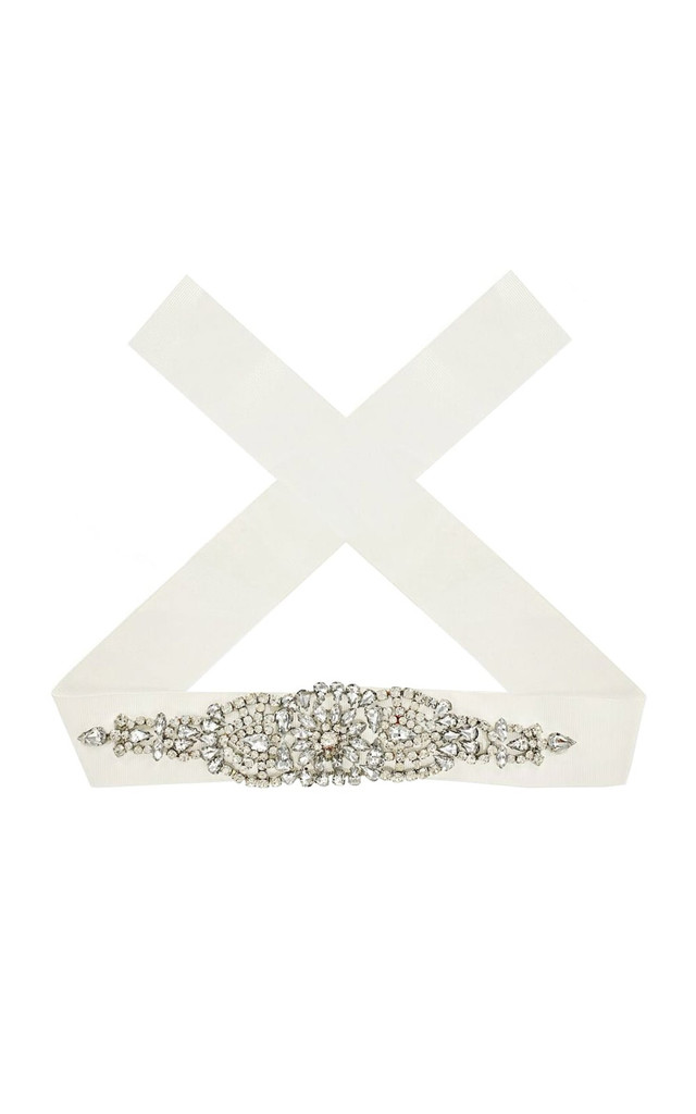 White Diamante Ribbon Choker by Johnny Loves Rosie