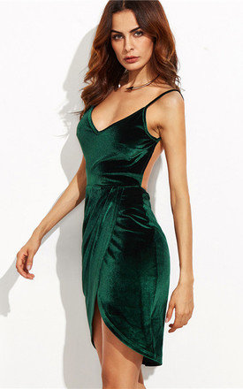 Emerald Velvet Wrap Dress by HAUS OF DECK