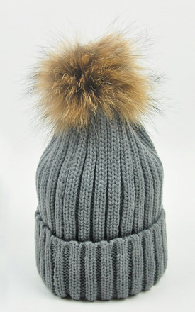 FUR POM POM GREY BEANIE WINTER HATS by GOLDKID LONDON