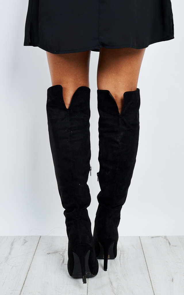 Black Suede Stiletto Boots by Truffle Collection