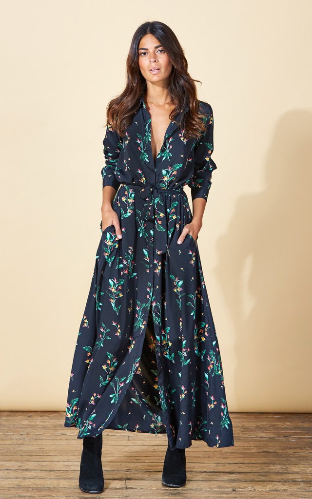 Maxi Shirt Dress in Midnight Paradise image