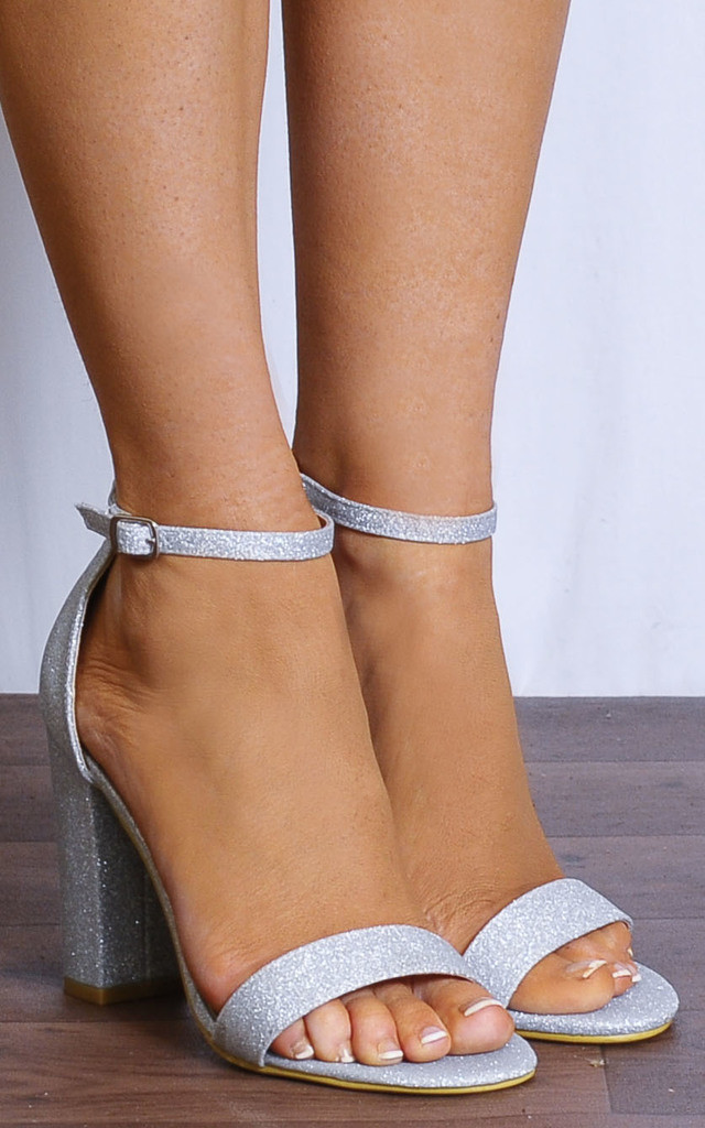 Silver Fine Glitter Barely There Ankle Strap Strappy Sandals High Heels by Shoe Closet
