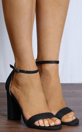 Black Fine Glitter Barely There Ankle Strap Strappy Sandals High Heels by Shoe Closet