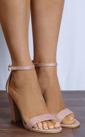 Blush Pink Glitter Barely There High Heel Sandals by Shoe Closet