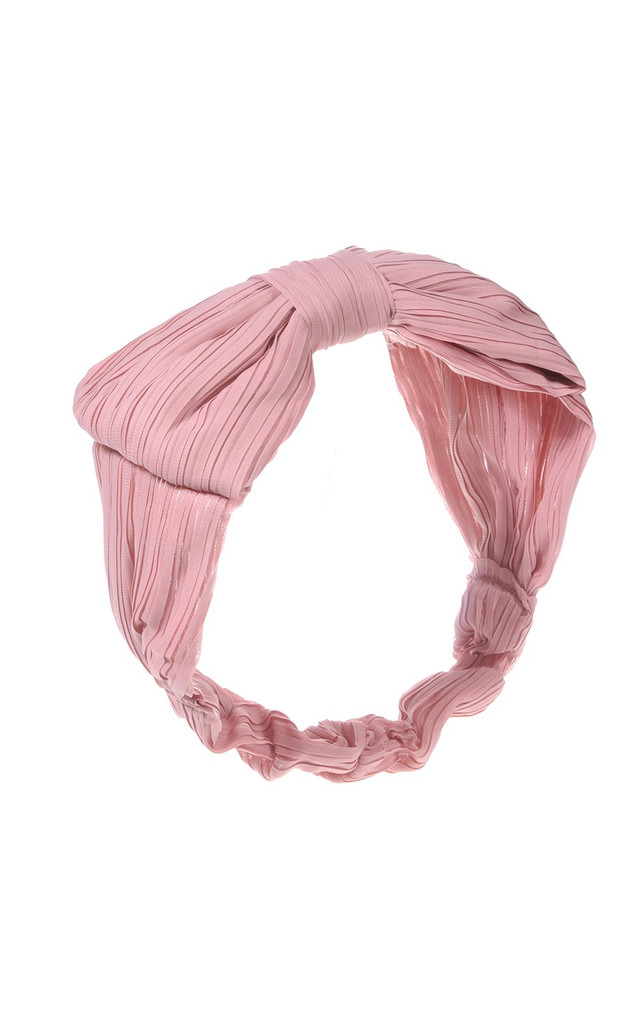 Crinkle Bow Hairband With Elasticated Back Pink by Johnny Loves Rosie