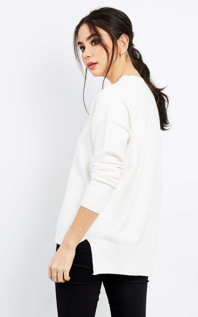 WHITE OVERSIZED LONG SLEEVE KNIT JUMPER by Aftershock London