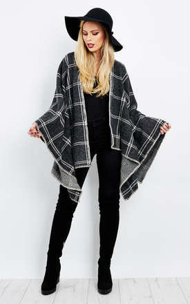GREY CHECK DETAIL KNIT PONCHO by Aftershock London