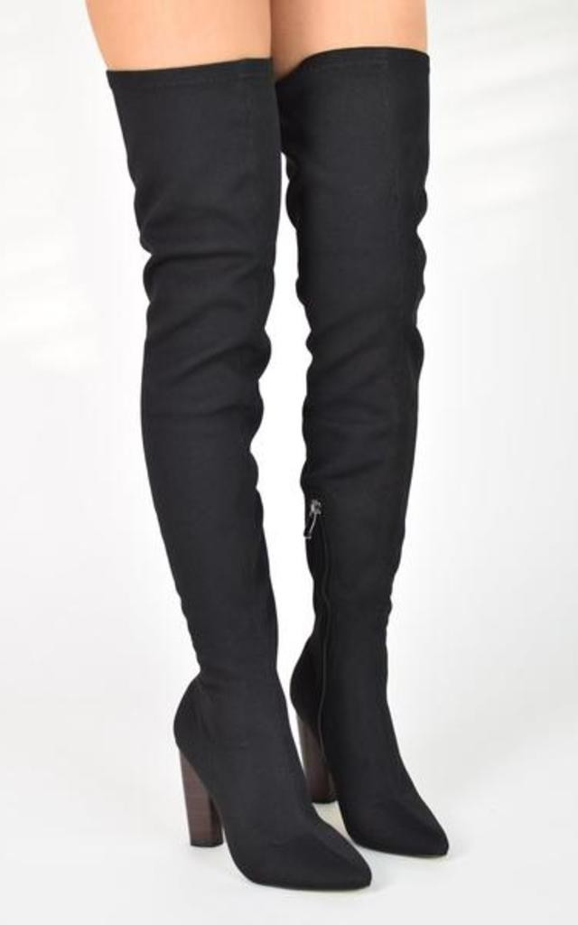 CAITLYN Knitted Stretch Over Knee Boots With Round Heel - Black by AJ | VOYAGE