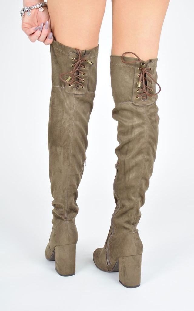 HIGH LIFE Knee High Boots With Lace Up Detail - Mocha Suede by AJ | VOYAGE