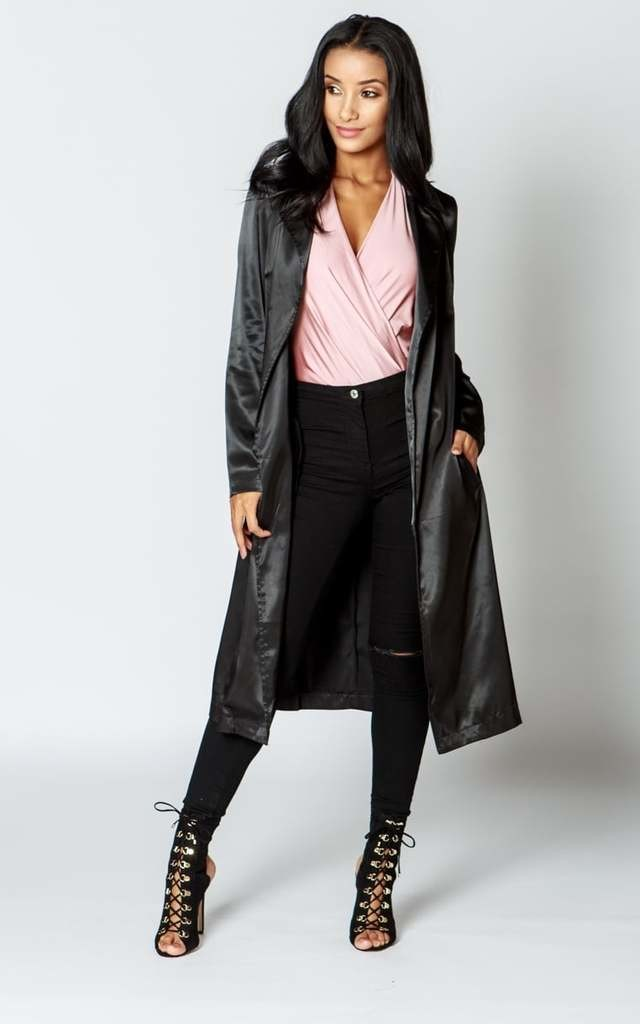 KHLOE Satin Belted Duster Coat - Black by AJ | VOYAGE