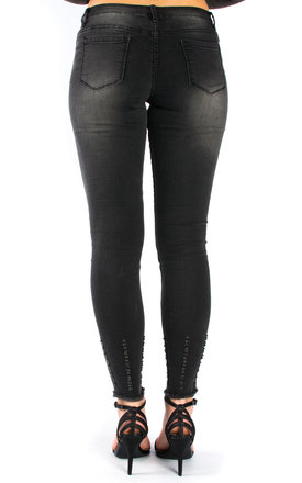Cut Out Knee Ripped Jeans - Black by Npire London