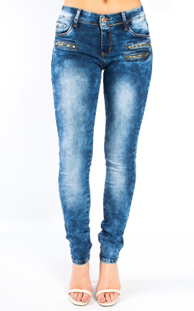 Mid Rise Slim Fit Denim Jeans – Light Blue by Npire London
