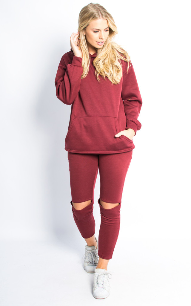 Cut Out Knee and Elbow Loungewear Set - Wine by Npire London