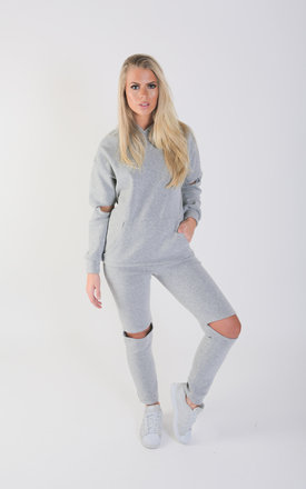 Cut Out Knee and Elbow Loungewear Set - Silver Grey by Npire London