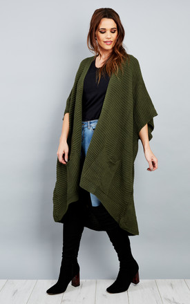 Khaki Box 3/4 Sleeve Knitted Cardigan by Bella and Blue