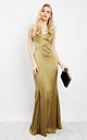 Silky satin strap maxi Dress in Khaki by D.Anna