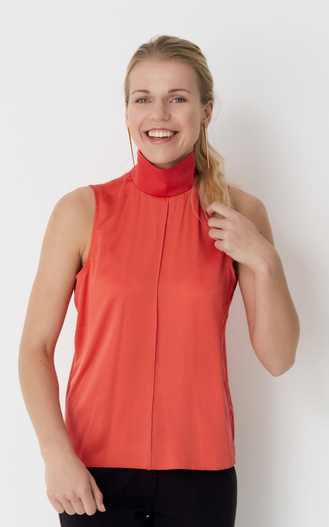 Coral silk top by No Ordinary Suit