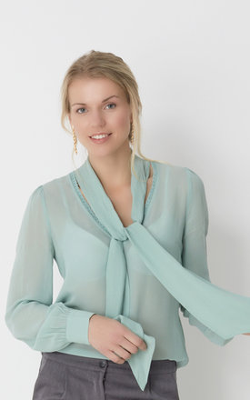 Silk-blend shirt with neck tie by No Ordinary Suit