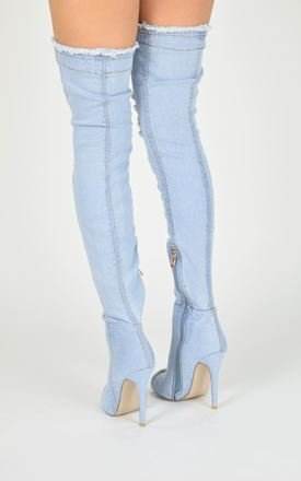 YASMIN Denim Peep Toe Over Knee Boots - Light by AJ | VOYAGE