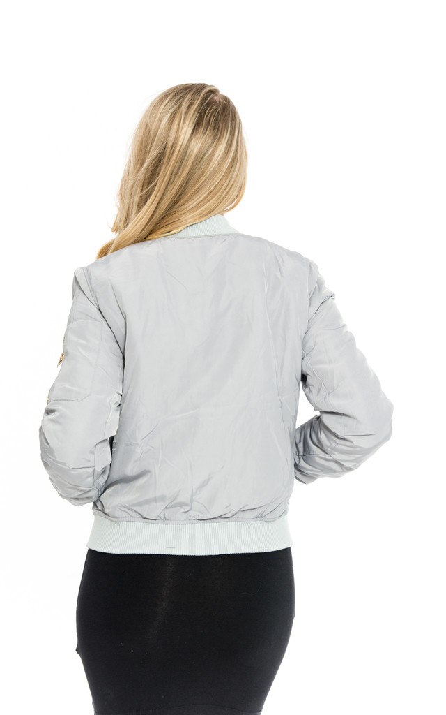 Silver Bomber MA1 Puff Jacket by Npire London