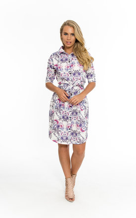 Printed Floral Belted Shirt Dress by Npire London