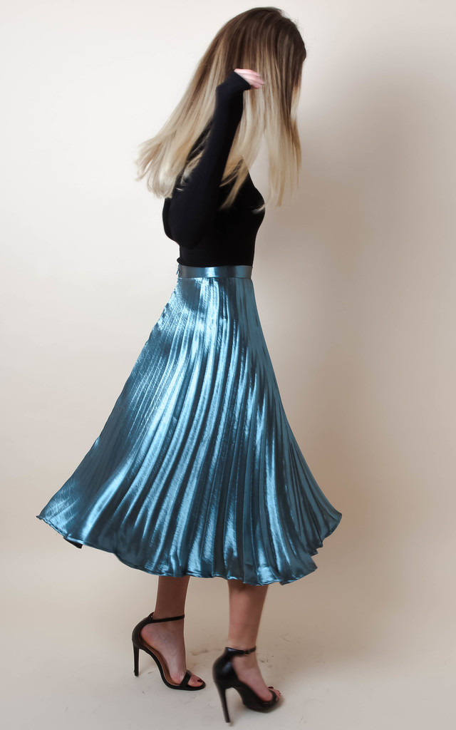 Metallic Satin Pleated High Waist Midi Skirt Silkfred