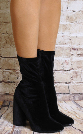 Black Velvet Sock Pull On Stretch Ankle Boost High Heels by Shoe Closet