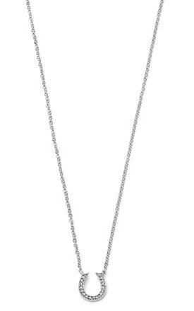 Horseshoe Clear Pave CZ Sterling Silver Necklace by VAVOO