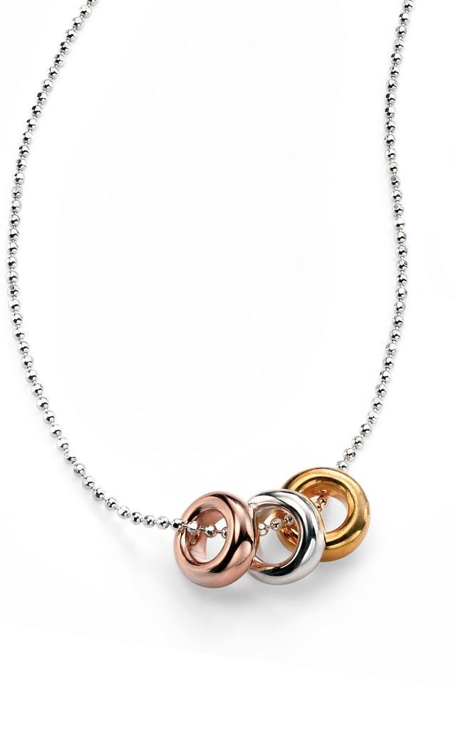 Triple Ring Gold & Rose Gold Plated Sterling Silver Necklace by VAVOO