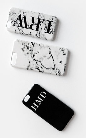 Minimal monogram black and white phone case by Rianna Phillips