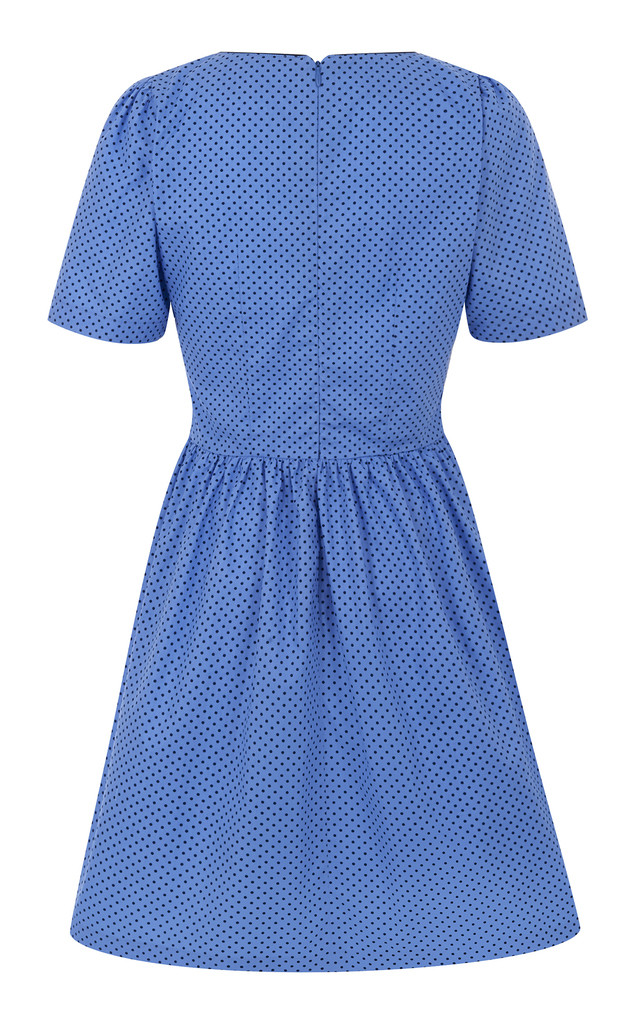 314 - Gorgeous in Gathers Dress - Blue with Navy Polka by Trollied Dolly
