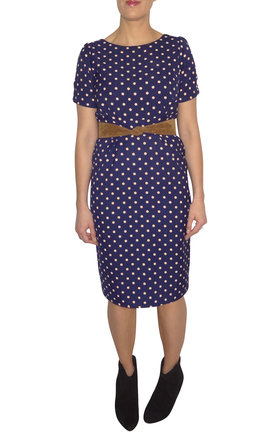 411 - Straight and Narrow Dress - Navy and Beige Polka by Trollied Dolly