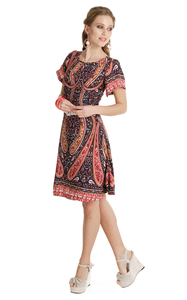 444  - Swing for your Supper Dress - Navy Paisley by Trollied Dolly