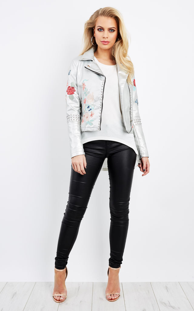 Floral Embroidered Silver Leather Jacket by Glamorous