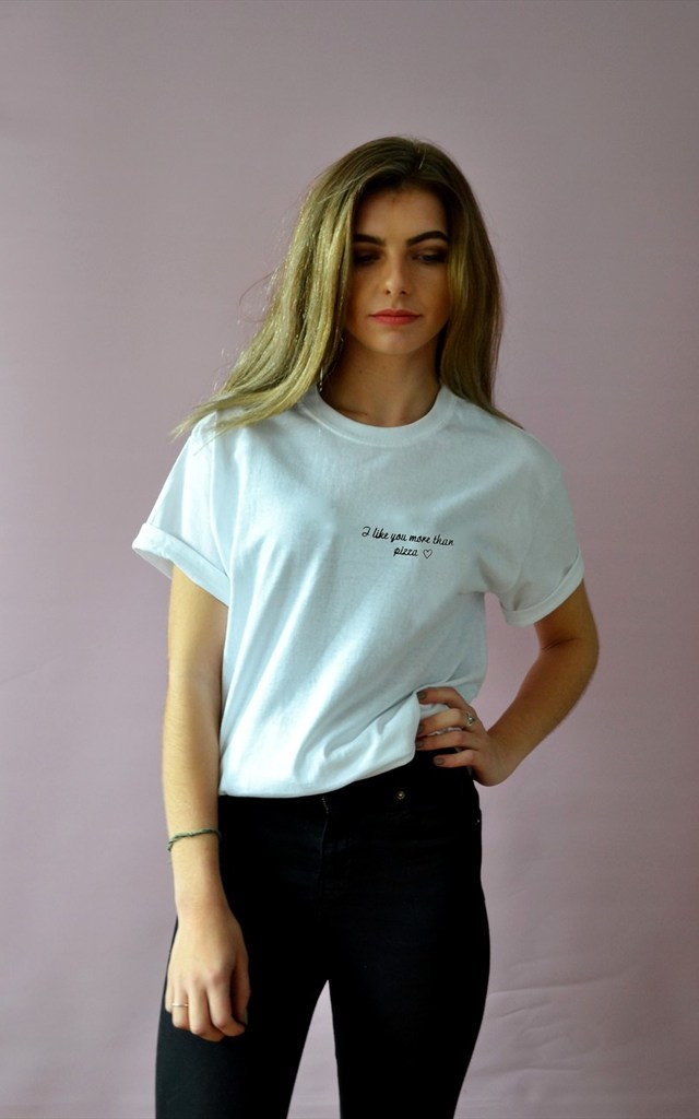 'I like you more than pizza' Embroidered valentine tee by Emma Warren