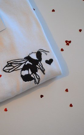 'bee mine' Embroidered White valentine t-shirt by Emma Warren