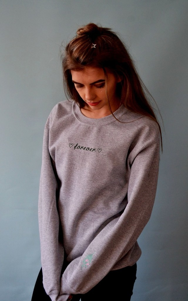 Embroidered 'Forever' Valentine sweater by Emma Warren