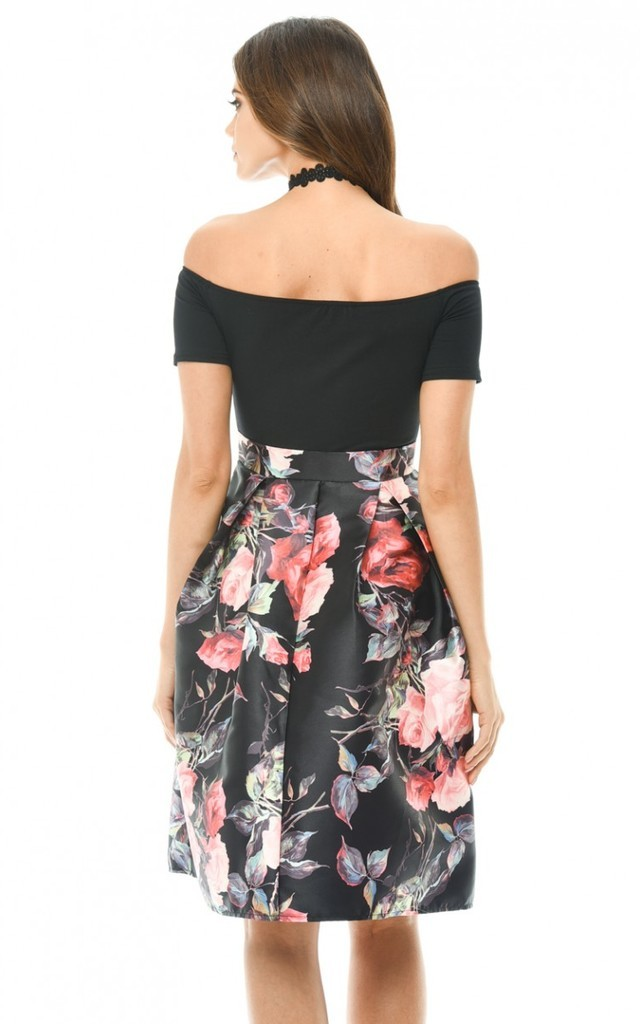 BLACK 2 IN 1 PRINTED OFF SHOULDER SKIRT DRESS by AX Paris