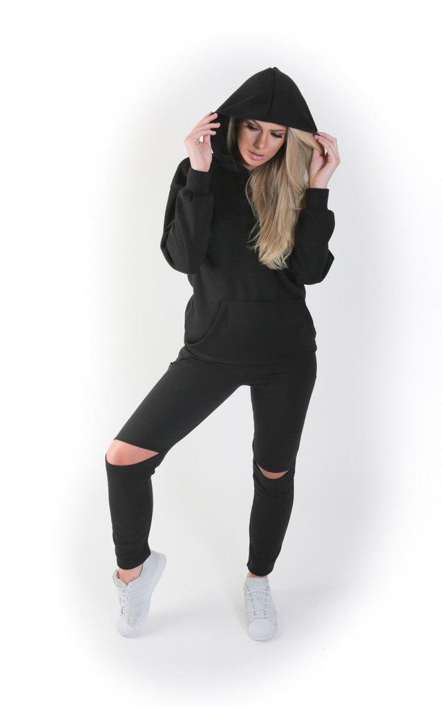 Cut Out Knee and Elbow Loungewear Set - Black by Npire London