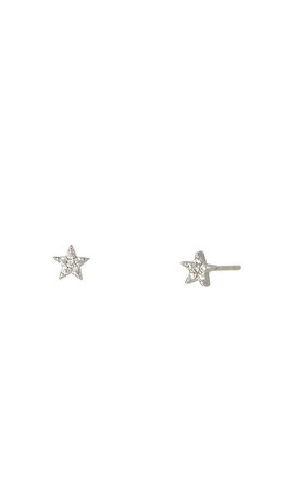 Tiny Star Studs White Gold by DOSE of ROSE Product photo
