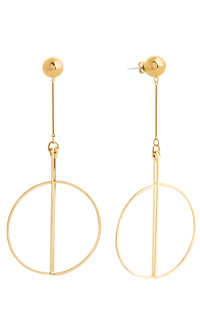 Ball And Drop Circle Earrings Gold by DOSE of ROSE